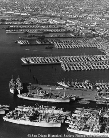 Aerial view of mothball fleet at U.S. Navy station, San Diego