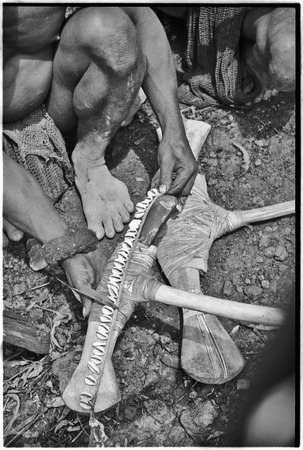 Ritual exchange: man measures strand of cowrie shells against blade of stone axe