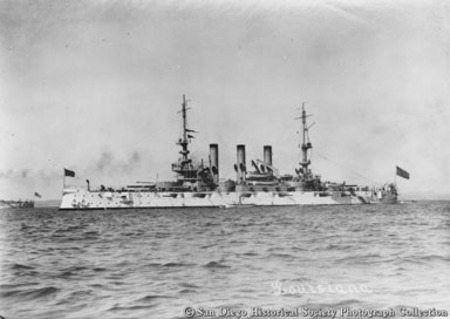 Great White Fleet battleship USS Louisiana on San Diego Bay