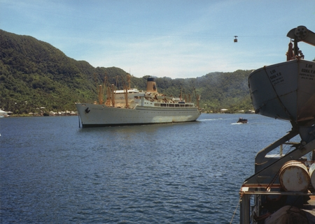 [Matson Line cruise ship at Pago Pago, photographed from R/V ARGO]