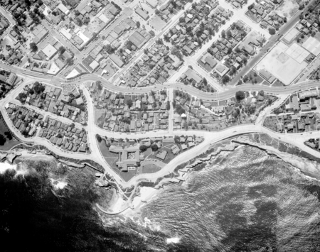 """Aerial, Casa Beach Area, 1949"" [Aerial view of La Jolla village with La Jolla Museum of Contemporary Art and Children's P..."