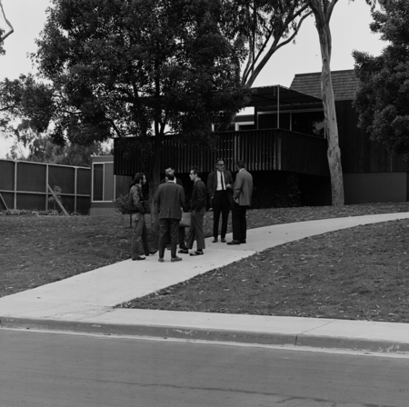 [Group including William A. Nierenberg and students outside Chancellor's Office, UCSD, cMay 26, 1969]