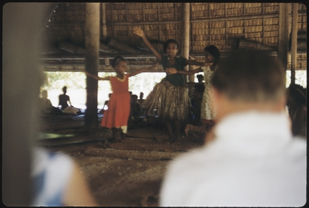 Young girl dancers performing in a building