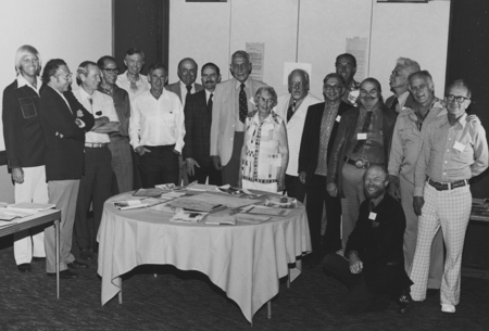 MidPac Capricorn Reunion, August 17, 1975. From left: Edward Barr, Robert L. Fisher, H. William Menard, unidentified, Gust...