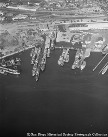 Aerial view of boats docked on San Diego waterfront