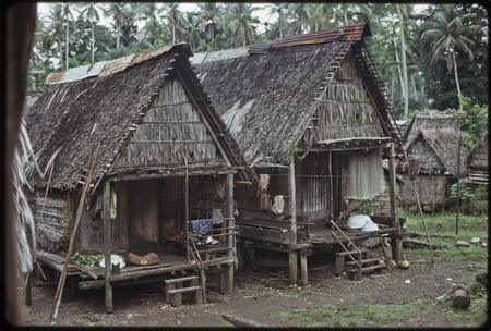 Houses with verandas, typical Trobriand architecture, fishing net hangs from rafters of house (r)
