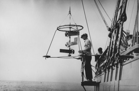 [Francis Parker Shepard with current meter on deck of R/V E.W. Scripps]