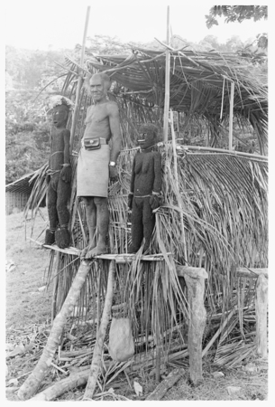 Folofo'u, wearing old police belt, on speaking platform with fernwood 'ea figures made by Arimae of Furi'ilae for the open...