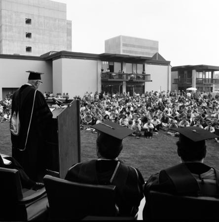 A convocation of the Muir and Warren Colleges on the campus of UCSD. October 16, 1970.