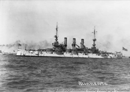 Great White Fleet battleship USS Minnesota on San Diego Bay