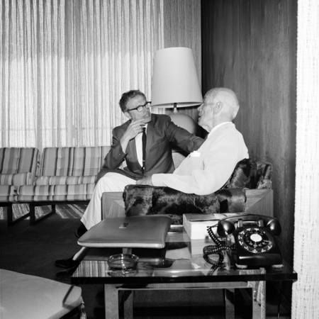 Paul Saltman (right) provost of Revelle College from 1967 to 1972 and Ernest W. Mandeville (left) during the Mandeville gi...