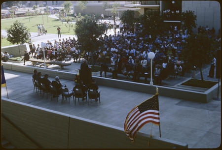 Carl Eckart speaks at the Revelle College dedication ceremony
