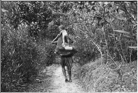 Young child stands on firewood carried in netbag by a woman