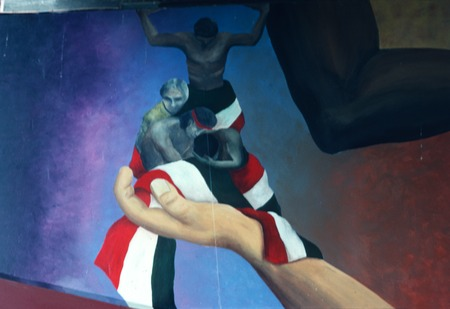 Chicano Park: Death of a Farmworker: detail of hand