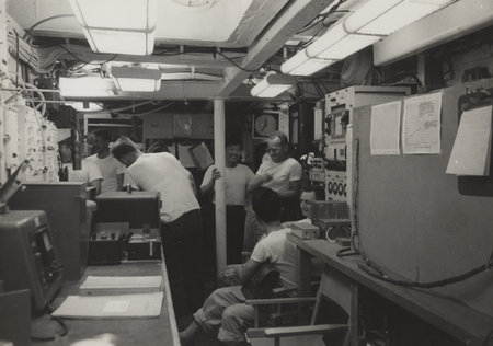 Laboratory of Spencer F. Baird. From left: Bob Fisher, Jack Bradshaw, Dick Morita, Noriyuki Nasu, Bob Wisner, Eugene Corcoran