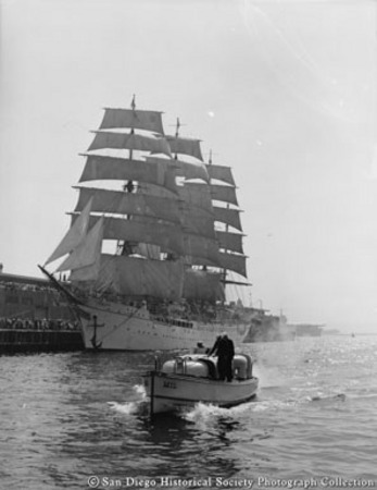 Sailing ship and launch, San Diego harbor