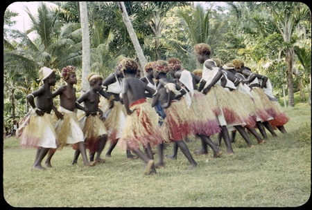 Dancers in grass skirts and matching headress; some with western dress or tops, and white handkerchiefs tied around head o...