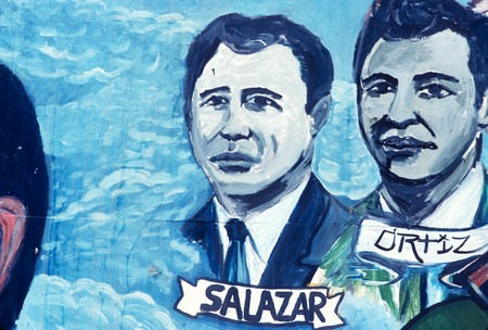Chicano Park: Historical Mural: detail of Rubén Salazar and Ortiz