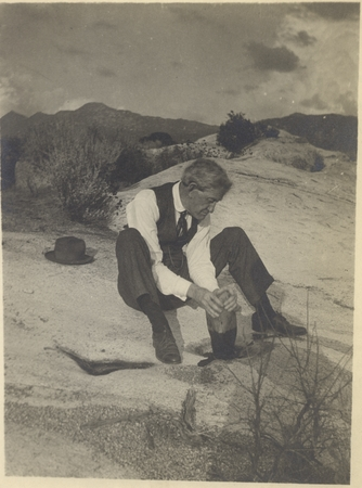 William Ritter with a grinding stone, Warner Springs