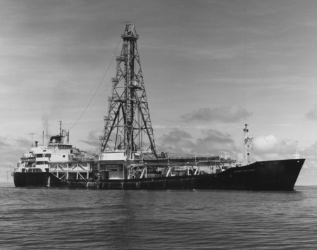 D/V Glomar Challenger (ship), during Leg 85 of the Deep Sea Drilling Project. The ship was named for the oceanographic sur...