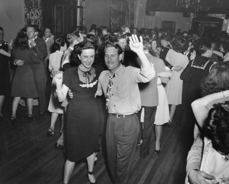 Couple at a dance, associated with the University of California Division of War Research