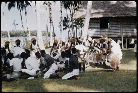 Male musicians, some with guitars, and female dancers with grass skirts and headress