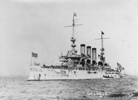 Great White Fleet battleship USS Georgia on San Diego Bay