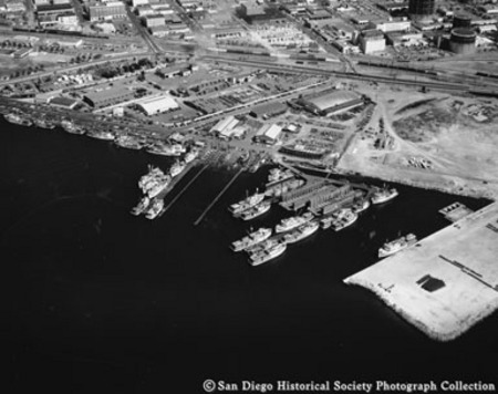 Aerial view of tuna fleet docked on San Diego waterfront