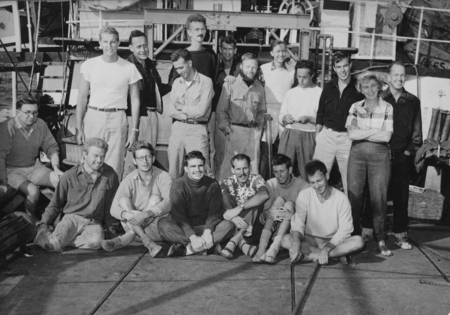 Group on the fantail of R/V Spencer F. Baird homeward bound from the Capricorn Expedition (1952-1953). Standing: Richard v...