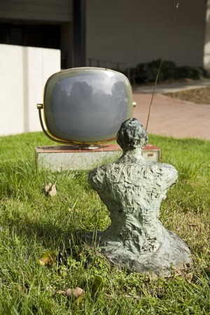 Something Pacific: bronze Buddha contemplating old tv monitor on grassy mound near UCSD Media Center