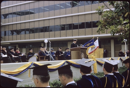 A speaker addresses the audience at Chancellor John Galbraith's inauguration ceremony