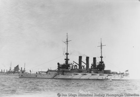 Great White Fleet battleship USS Ohio on San Diego bay