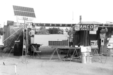 Slab City: photograph of solar panel sales booth