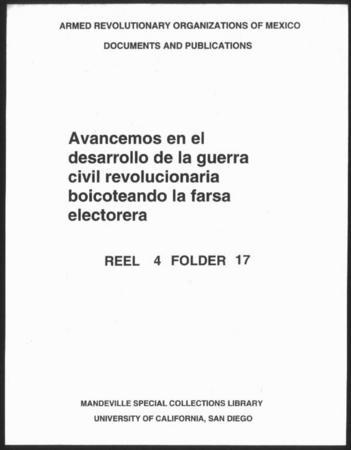 Avancemos En El Desarrollo De La Guerra Civil Revolucionaria Boicoteando La Farsa Electorera Library Digital Collections Uc San Diego Library
