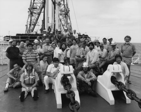 Scientists, technicians, and other ship crew members during