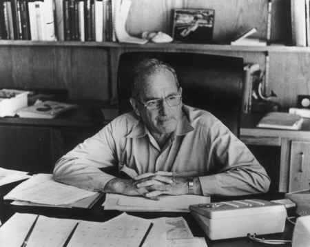 [Scripps Institution of Oceanography director Dr. William A. Nierenberg at his office]