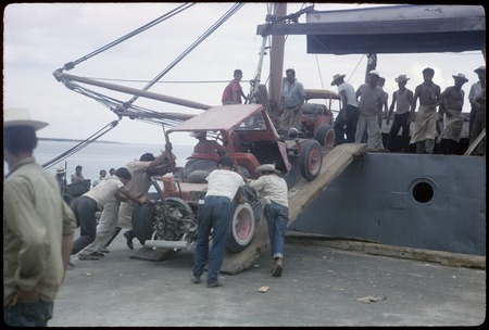 Loading dune buggy on freighter at La Paz   Library Digital