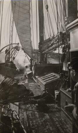 Deck and wheelhouse of R/V E.W. Scripps in a storm. . Gulf of California Expedition, February 14,1939