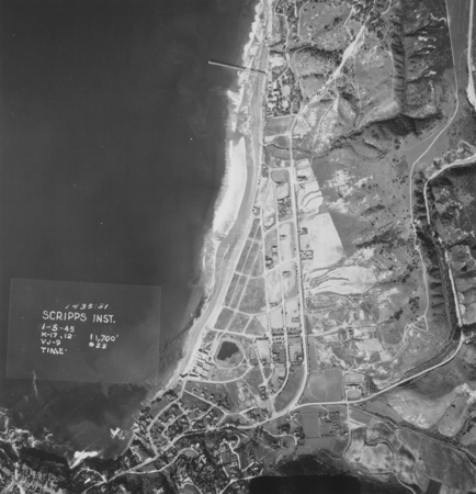 Aerial view from 11,700 feet above Scripps Institution of Oceanography. January 5, 1945.