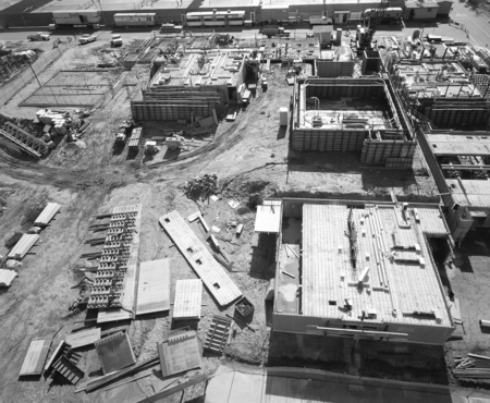 Aerial view of the construction at Muir and Revelle College on the campus of UCSD. December 1, 1970.
