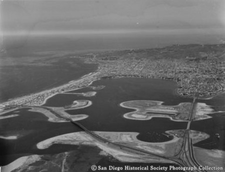 Aerial view of Mission Beach and Mission Bay