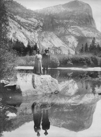 William Ritter and his wife, Mary Bennett Ritter, at Mirror Lake, Yosemite