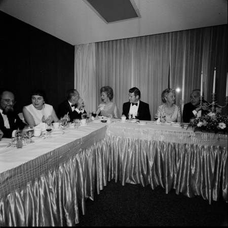 People dining at the head table during the UCSD Faculty Ball. April 25, 1970.