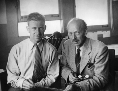 Walter Munk (left) with Harald Sverdrup in the George H. Scripps Memorial Marine Biological Laboratory building at Scripps...