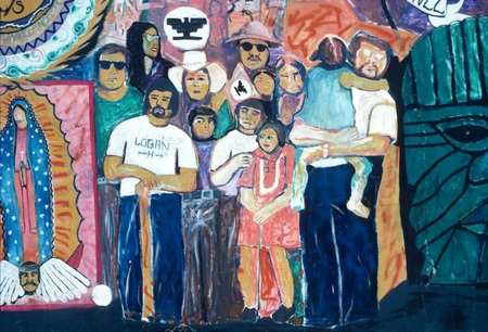 Chicano Park: Historical Mural: detail of demonstrators