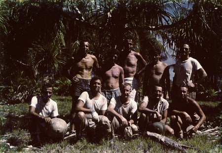 Bikini Encampment: Standing (L to R): unidentified, Robert Dill?, Roger Revelle, unidentified, Edwin Hamilton; Seated (L t...