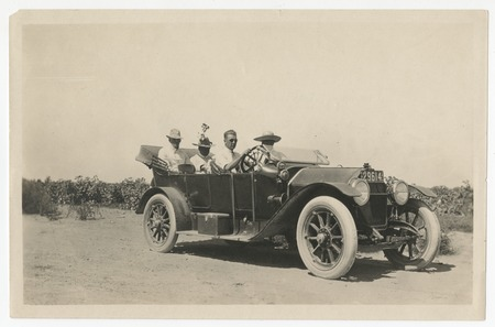 Harry Taylor at the wheel of a Stutz car