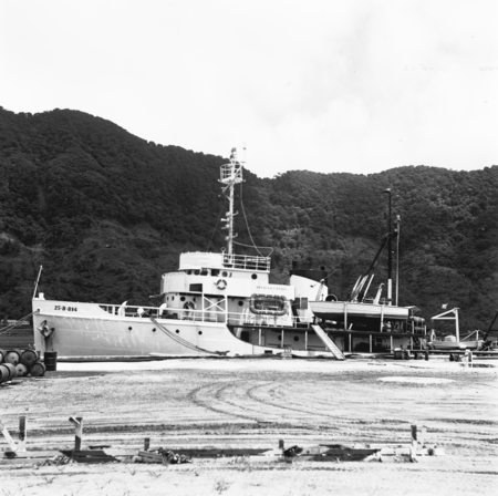 R/V Spencer F. Baird moored at a dock in American Samoa unincorporated territory of the United States located in the South...
