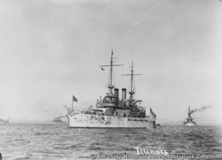 Great White Fleet battleship USS Illinois on San Diego Bay