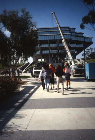 Trees: view of Silent Tree being re-installed in front of Geisel Library, UCSD, June, 1993